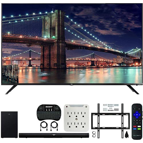 5. TCL 65R617 65-inch Class 6-Series 4K HDR Roku Smart TV Bundle