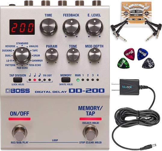 10. BOSS DD-200 Digital Delay Effects Pedal Bundle