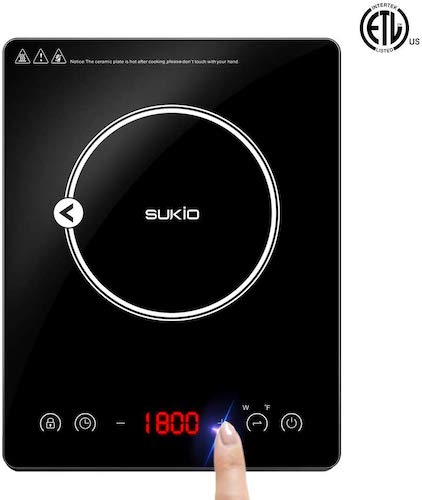 8. Portable Induction Cooktop ,1800W Countertop Burner Cooker with Timer, Safety Lock, Sensor Touch Electric Induction Cooker Cooktop
