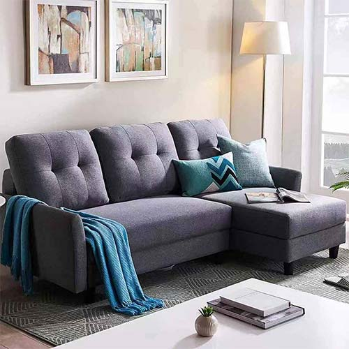 2. HONBAY L Shape Couch Bed Sofa Reversible Sleeper Sectional Corner Couch