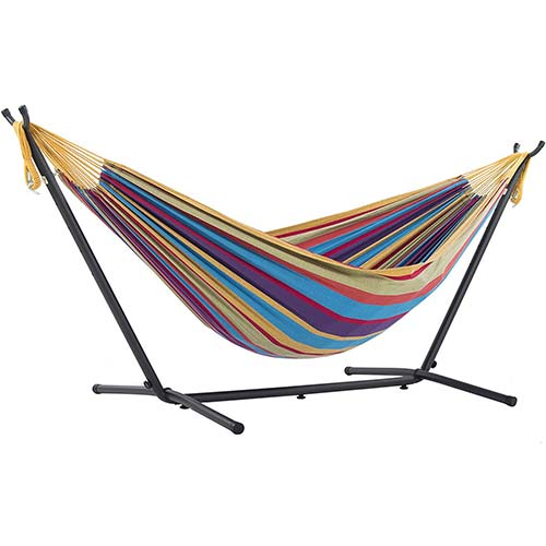 1. Vivere Double Cotton Hammock with Space Saving Steel Stand
