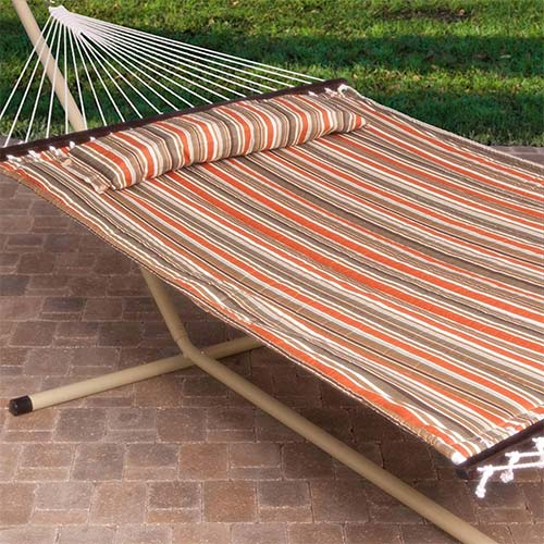 2. 2 Person Free Standing Hammock, 13 Ft. Sienna Stripe Quilted Hammock