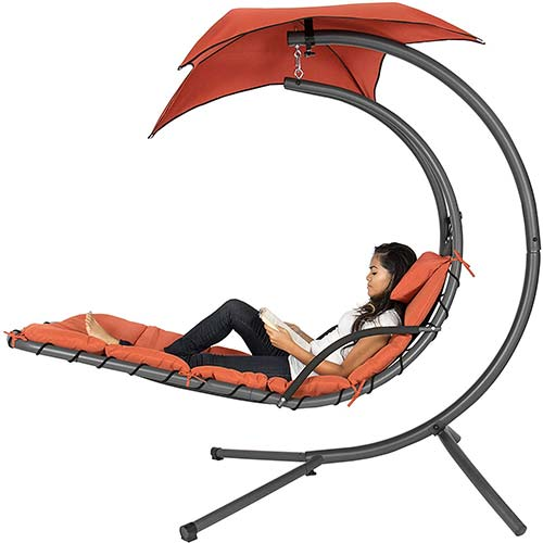 3. Best Choice Products Outdoor Hanging Curved Chaise Lounge Chair Swing