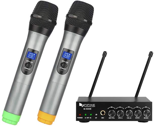 10. Fifine UHF Dual Channel Wireless Handheld Microphone