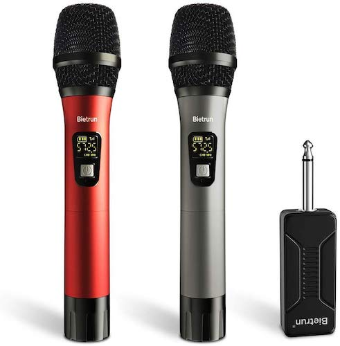 9. Wireless Microphone, UHF Wireless Dual Handheld Dynamic Mic System Set