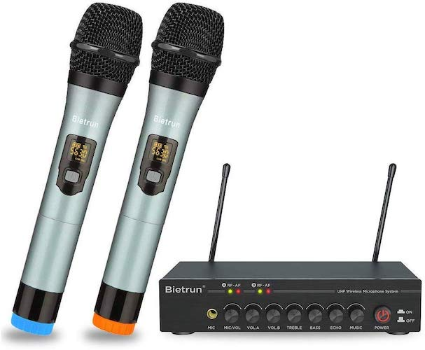4. Wireless Microphone with Bluetooth, Echo, Treble, Bass, UHF Dual Wireless Handheld Dynamic Karaoke Microphone System