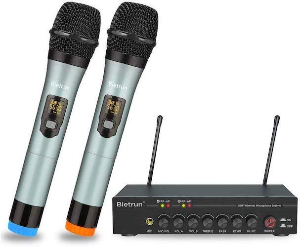 4. Wireless Microphone with Bluetooth, Echo, Treble, Bass, UHF Dual Wireless Handheld Dynamic Karaoke Microphone System