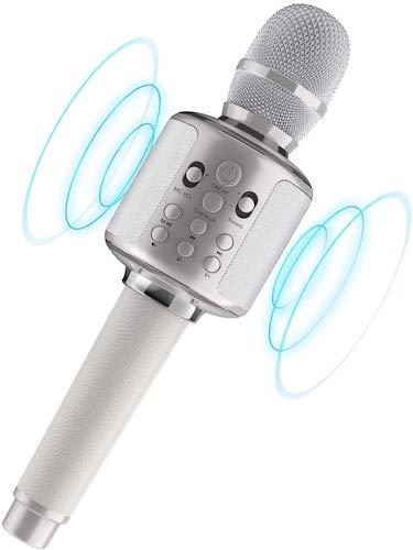7. Bluetooth Karaoke Microphone, Bluetooth 5.0 Singing Duet Wireless Karaoke Reverb Machine 3000mah Handheld Mic Speaker Machine