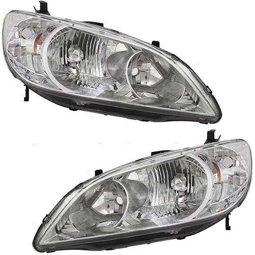 7. Headlights Headlamps Driver and Passenger Replacements for 2004-2005 Honda Civic 33151-S5A-A51 33101-S5A-A51