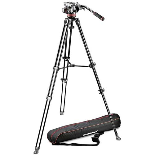 8. Manfrotto MVK502AM-1 Professional Fluid Video System Aluminum Tripod