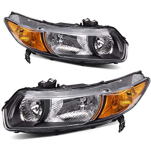 1. Headlight Assembly OE Style Replacement Direct for 2006-2011 Honda Civic Coupe Headlamps