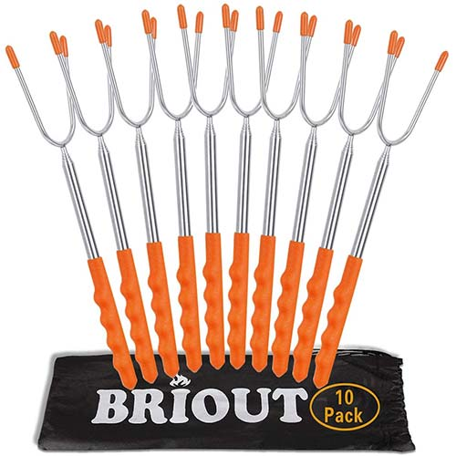 4. Marshmallow Roasting Sticks 10 Pack Extra Long 45'' Stainless Telescoping Hot Dog Smores Skewers Kids Safe Barbecue Forks