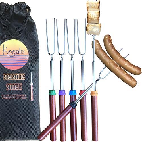5. Kooalo Roasting Sticks - Premium Extendable Marshmallow Smores Roasting Sticks