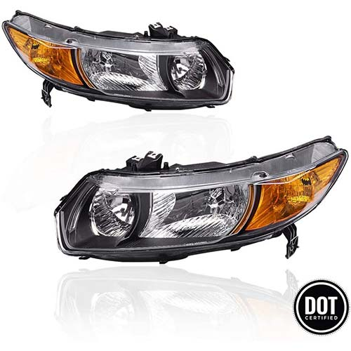 5. Replacement Headlights Assembly with Black Housing Amber Park Lens for 2006 2007 2008 2009 2010 2011 Honda Civic