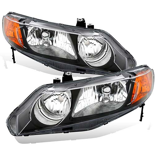 3. Headlight Assembly for 2004 2005 Honda Civic Chrome Housing Headlamps