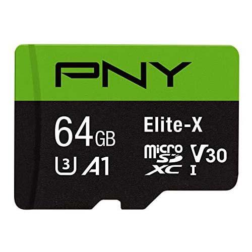 8. PNY 64GB Elite-X Class 10 U3 V30 microSDXC Flash Memory Card