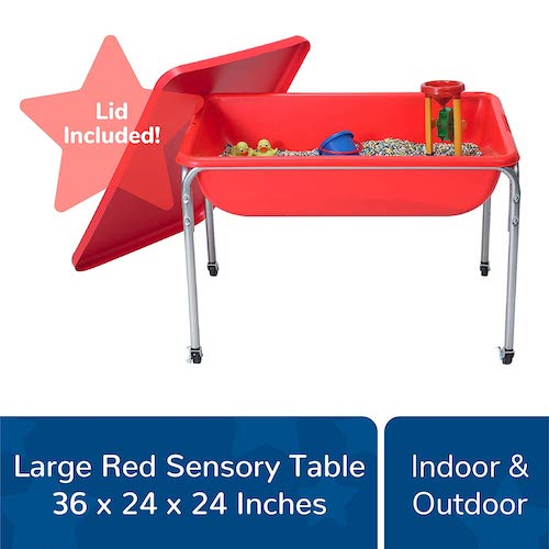 """8. Children's Factory Large Sensory Table and Lid Set, 36"""" by 24"""" by 24"""", Red – Fill with Water, Sand, Beads and More"""