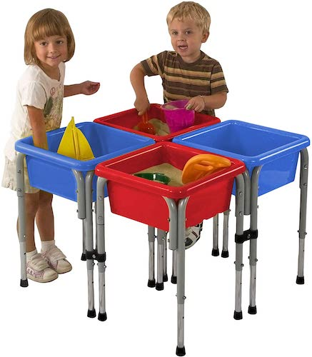 5. ECR4Kids Assorted Colors Sand and Water Adjustable Activity Play Table Center with Lids, Square (4-Station)