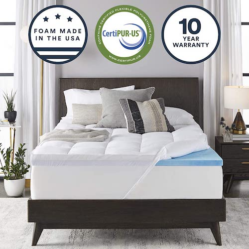 1. Sleep Innovations 4-inch Dual Layer Gel Memory Foam Enhanced Support, Queen, Made in the USA