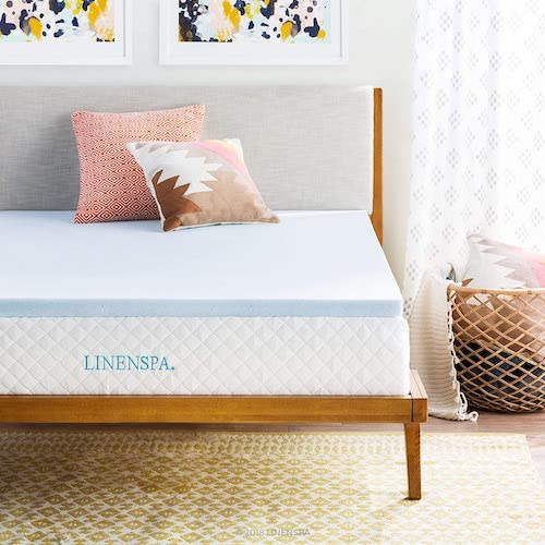 3. Linenspa 2 Inch Gel Infused Memory Foam Mattress Topper, Queen