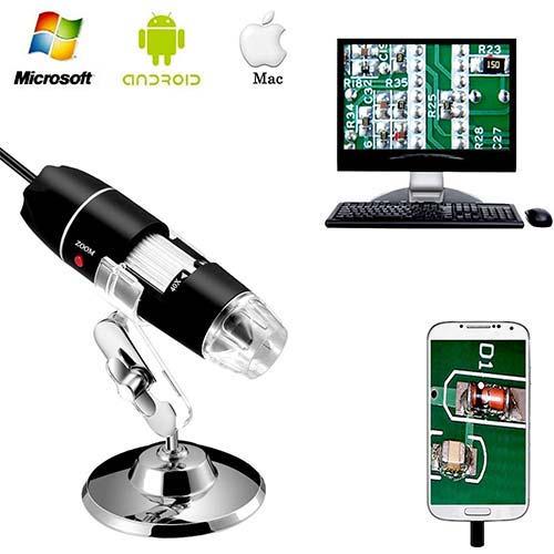 2. Jiusion 40 to 1000x Magnification Endoscope, 8 LED USB 2.0 Digital Microscope