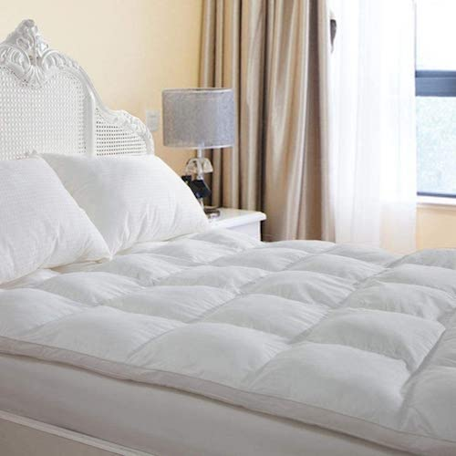 4. D & G THE DUCK AND GOOSE CO Overfilled Extra Thick Mattress Topper Queen Size, Gel Fiber Filled Bed Topper