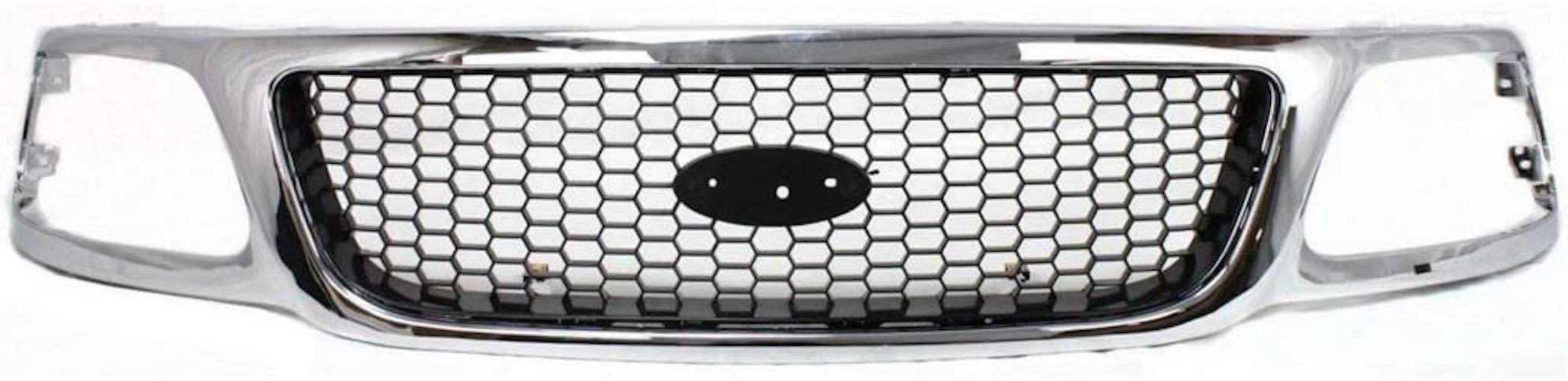 8. Titanium Plus Autoparts Fits For 2000-2003 Ford F-150 Front Grille FO1200404 Chrome Black