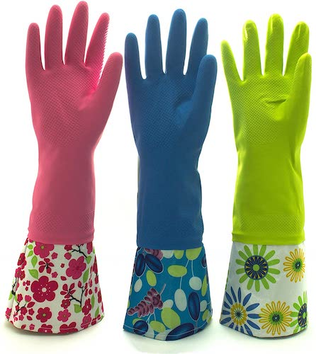 6. Reusable Waterproof Household Latex Cleaning Gloves