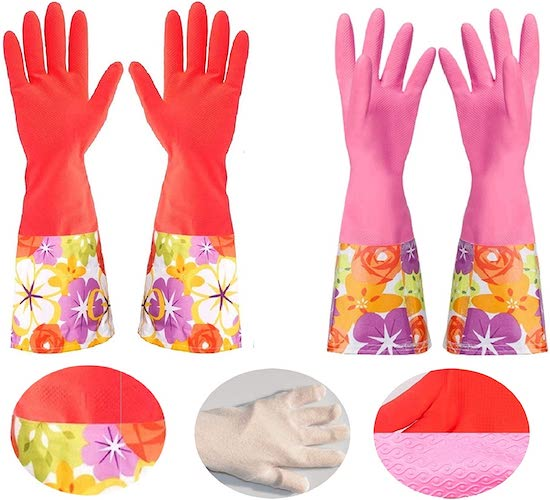 5. Rubber Cleaning Gloves with Lining Household Thickening PU Waterproof Kitchen Dishwashing Latex Glove