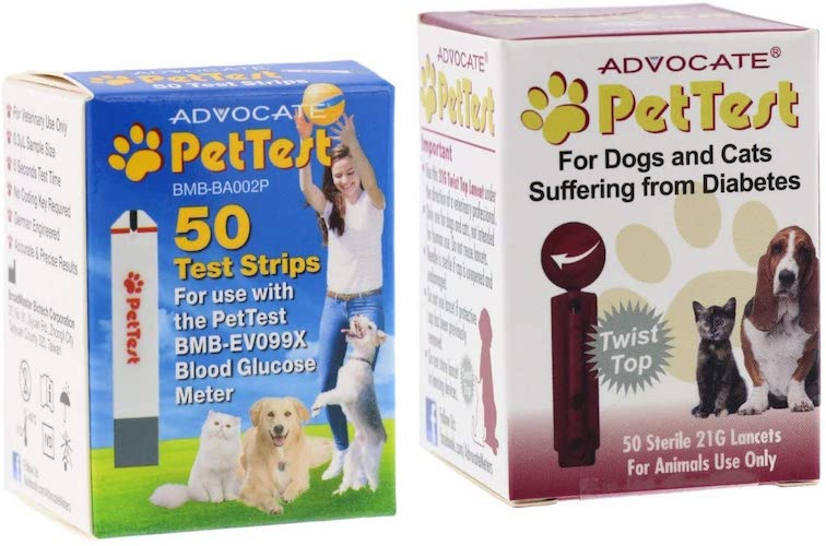 3. Advocate PetTest Blood Glucose Test Strips & 21G Twist Top Sterile Lancets Combo