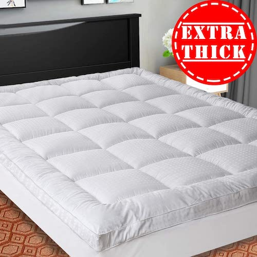 6. SOPAT Extra Thick Mattress Topper (Queen), Cooling Mattress Pad Cover, Pillow Top Construction (8-21Inch Deep Pocket)