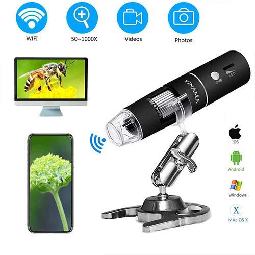 7. Wireless Digital Microscope,YINAMA 50x to 1000x Magnification Microscope Camera