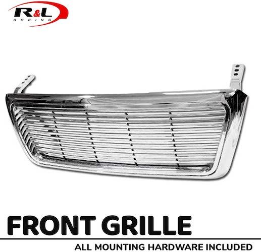 9.R&L Racing Chrome Front Grill Horizontal Billet Hood Bumper Grille Cover 2004-2008 for Ford F150 Pickup Truck