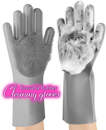 2. anzoee Reusable Silicone Dishwashing Gloves