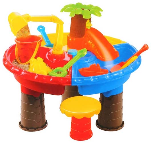 10. UPDD Popular Summer Beach Sand Water Table, Large Baby Play Water Digging Sandglass Play Sand Tool (22Pcs)