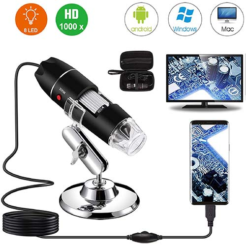 1. USB Digital Microscope 40X to 1000X, Bysameyee 8 LED Magnification Endoscope Camera