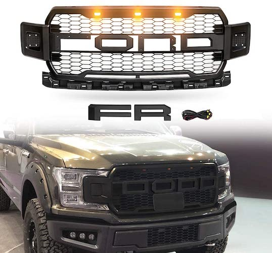 3. VZ4X4 Front Grille Fits for 2018-2019 2020 FORD F150 ABS Mattle Raptor Style Honeycomb Grill