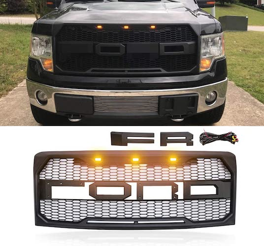 7. VZ4X4 Front Grill for F150 Ford F-150 2009-2014, Raptor Style Grille