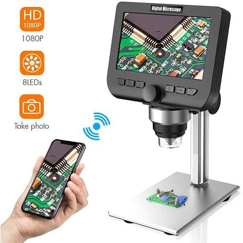 6. LCD Digital Microscope, YINAMA 4.3 Inch 1080P 2 Megapixels 1000X Magnification Zoom Wireless USB Stereo Microscope Camera