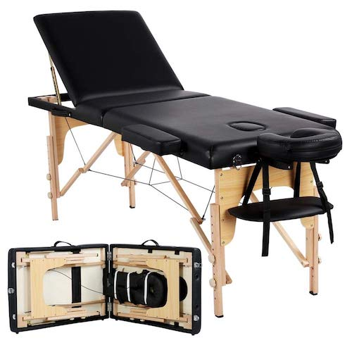 9. Yaheetech Massage Table Portable Massage Bed Spa Bed Height Adjustable 84 Inch 3 Folding Professional Massage Table