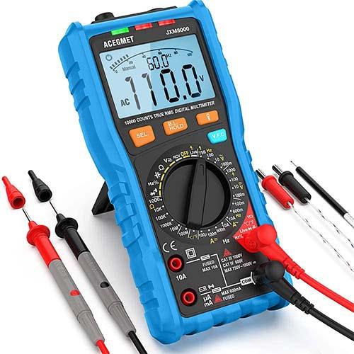 7. Digital Multimeter, Acegmet TRMS Auto/Manual Ranging Multimeter Tester