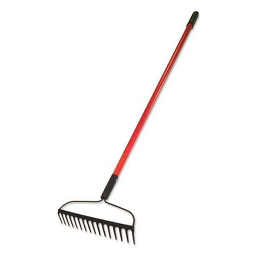 4. Bully Tools 92309 12-Gauge 16-Inch Bow Rake with Fiberglass Handle and 16 Steel Tines, 58-Inch