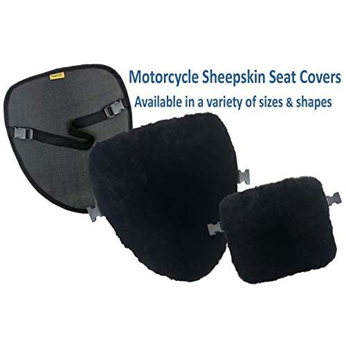 8. SKWOOSH Sheepskin Motorcycle Seat Cover Pad Natural Plush Genuine Wool for Temperature Control Summer and Winter and Cushioning