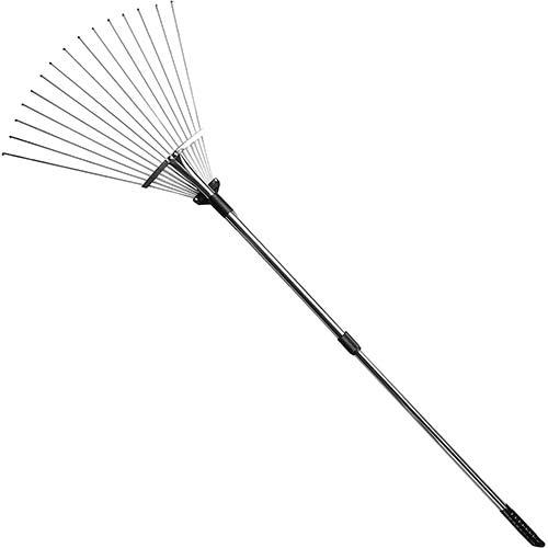 7. Gonicc 63 inch Professional Adjustable Garden Leaf Rake, Expanding Metal Rake - Adjustable Folding Head