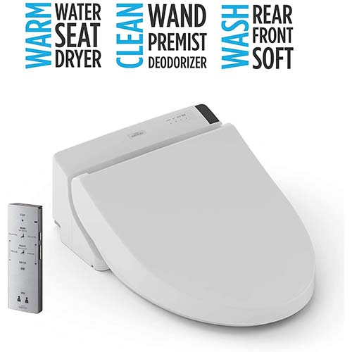 9. TOTO SW2044#01 C200 Electronic Bidet Toilet Cleansing Water, Heated Seat, Deodorizer, Warm Air Dryer, and PREMIST