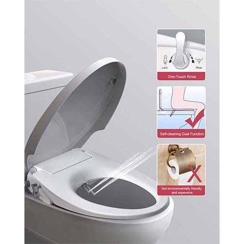 6. Uni-Green Manual Bidet Toilet Seat, White with Quiet-Close Lid& Seat, Non-Electronic, Dual Nozzles for Rear& Feminine Spray