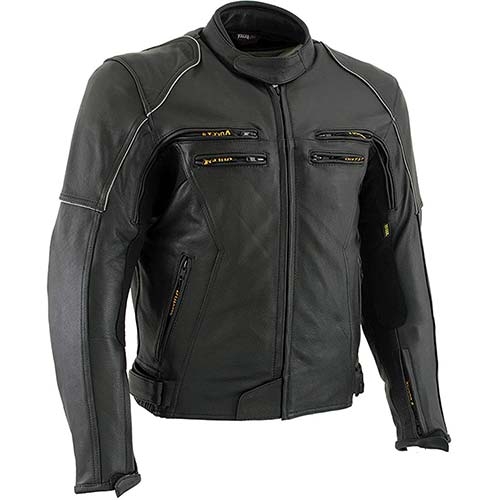 5. Vulcan VNE98431 'Ace' Men's Black Leather Armored Motorcycle Jacket