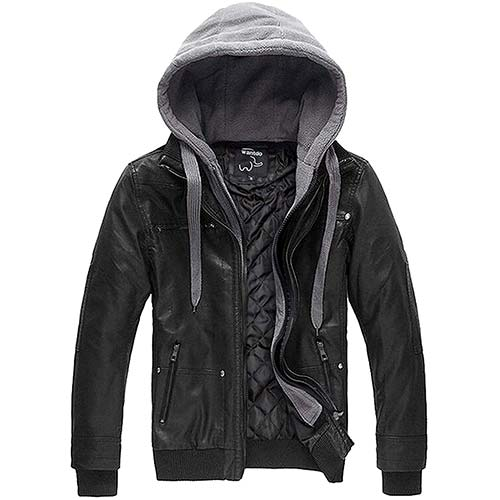 7. Wantdo Men's Faux Leather Jacket with Removable Hood