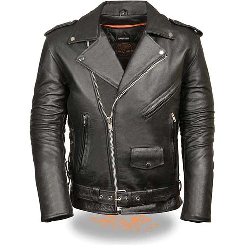 1. Milwaukee Leather SH1011 Men's Classic Side Lace Police Style Motorcycle Leather Jacket