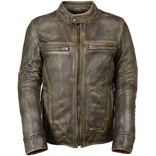 8. Milwaukee Leather Big Mens Distressed Brown Motorcycle Jacket-Vents